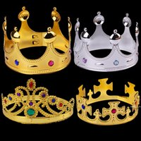 코스프레 킹 퀸 크라운 파티 모자 타이어 프린스 공주 크라운 생일 파티 모자 골드 실버 opp 가방이있는 2 색 FWE9270