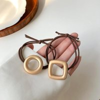 Hair Clips & Barrettes Woman Holder Tie Metal Round Square Elastic Band Simple Accessories