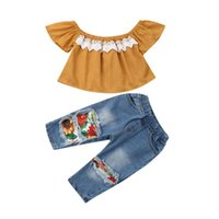 Clothing Sets 2021 Summer Kids Born Baby Girl Clothes Off Shoulder Lace Shirt Tops+Sunflowers Hole Denim Pants Outfits 1-5Y 2PCS