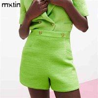 MXTIN Kadın Yaz Vintage Çift Düğmeler Ile Katı Şort Moda Cep Yüksek Bel Yan Fermuar Kadın Rahat Skort Mujer 210714