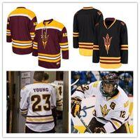 Arizona State Sun Sun Devils Custom College Hockey # 12 Dylan Hollman 18 Anthony Croston Numéro Numéro Numéro cousu Mens Jerseys S-5XL