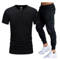 Men's Tracksuits Summer Fashion T-shirt + Sports Suit Pure Color High-top Running
