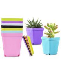 جديد زهرة وعاء مربع البلاستيك الغراس الحضانة حديقة مكتب ديكور المنزل الحلوى اللون مع صينية الألوان العشوائية EWF7448