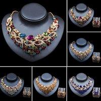 Earrings & Necklace African Bridal Crystal Wedding Party Jewelry Set Rhinestone Choker Statement Collar Nigeria Women Bib Gifts