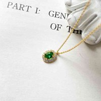 Necklace Autumn Simple Women's Green Egg Shaped Zircon S925 Sterling Silver with Luxurious Cross Chain