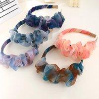 Hair Accessories Fashion Organza Tie-dye Patchwork Pleated Headband Pompom Cloud Flower Hairband Women Wide Head Hoop