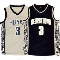 Expédier de l'US Allen Iverson N ° 3 Georgetown Hoyas Hoyas Jersey Basketball Jersey Toutes les hommes gris bleu cousus taille S-3XL de qualité supérieure