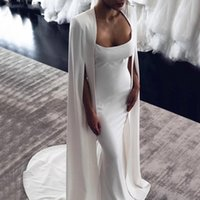 2 in 1 Mermaid Wedding Dress with Wrap Bridal Gowns Long Cape Spaghetti Straps Backless Two Pieces Spandex Vestidos De Noiva Custom Size