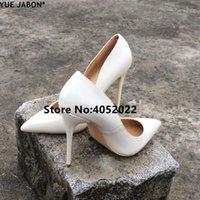 Zapatos de vestir yue jabon mujeres sexy pura pura cuero punteado tacones de tacón tacones 12/10 / 8cm Slip-en bombas poco profundas Tallas 4 EUR 43
