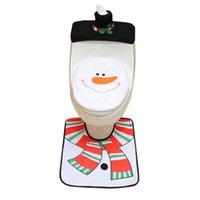 Conjunto de acessórios de banho 3pcs fantasia de assento sanitário de Santa e tapete de banho decoração de natal 2021 festa família feliz ano