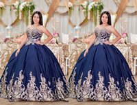 Amazing Gold Flowers Embroidered Ball Gown Prom Quinceanera Dresses 2021 Sweetheart Navy Blue Satin Corset Back Long Evening Formal Pageant Dress Gowns