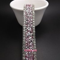 Ürünler 1.5 cm Moda Pembe Kristal Temizle Rhinestone Trim Gelin Aplike Dantel Trim Bahçesi