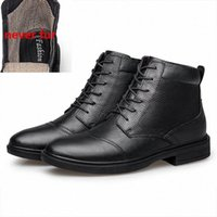 Men Ankle Boots Winter High Top Board Shoes Genuine Leather Man Snow Boot With Fur Keep Warm Flats Big Size q97s#
