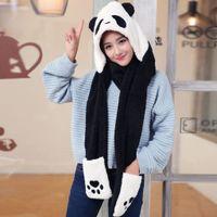 2021 Cute Panda Cartoon Women Cap Suit Thick Ear Protectors Female Hats Warmer Plush Hat Scarf Gloves Set Dropshipping