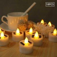 18pcs Solar LED Candle Home Decoration Wedding Light Outdoor Garden Lawn Tealight H0909
