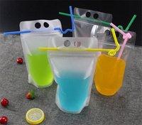 4 أنماط 500ML شفافة ذاتية مختومة البلاستيك شرب حقيبة التعبئة والتغليف الحقيبة لشراء عصير القهوة، مع مقبض وفتحات لسترو GWA6829