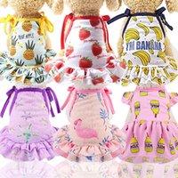 Dog Apparel Cotton Pet Clothes Cute Fruit Pattern Dress T-shirts Lovers Suit Small Medium Cat Supplies Skirts Poodle