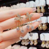 Earrings Dangle Chandelier Jewelry for womens Rhinestone Crystal s925 Silver nee-dle High-class Sense Light Luxury Super Flash Diamond Butterfly Earring New drop