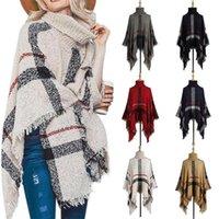 Swetry damskie Poncho Sweter Kobiety Frędzle Stripe Knit Pullover Cape Coat High Collar Vintage Szal Szalik Panchos Kobiet Zima
