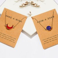Newest Crystal Quartz Druzy Crescent Moon Imitation Natural Stone Resin Pendant Paper Card Necklace