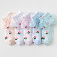 Calzini per bambini Cotton Ragazza neonato Leggings Ruffle Frilly Pizzo Strawberry Estate Calzature traspiranti 5 colori