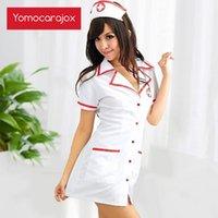 Yomocarjox Enfermera Disfraz Cosplay Sexy Lencería Erótico Caliente Erótico Para Mujeres Enferencia Conjunto Fantasías Uniform Tempt Temp Vestido de Cuello en V Algodón T200517