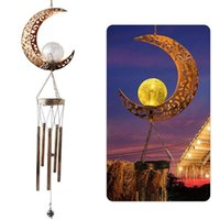 Lámparas solares LED Iron Viento Chime Light Star Moon Sun Forma de sol Al aire libre Jardín Impermeable Colgando Luces Batería Yard Lámpara