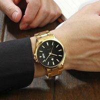 Armbanduhren Relogio Masculino Wwoor Mens Gold Uhren Mode Geschäfts Datum Quarzuhr Luxus Goldene Schwarze Runde Stahl Armbanduhr Männer 202