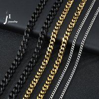 Stainless Steel Cuban Thick Chain Link Necklaces for Men Women Long Hip Hop Cuba Choker Necklace Fashion Jewelry Black Gold Silver Mix