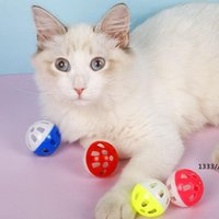 Pet Toys Hollow Plastic Cat Colourful Ball Toy With Small Bell Lovable Voice Interactive Tinkle Puppy Playing LLE10583