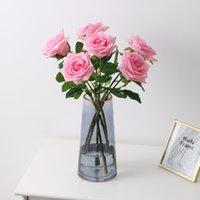 Multicolore Idratante Fiore di Rosa Singolo Stelo di buona qualità Fiori artificiali per decorazioni di nozze LLE6580