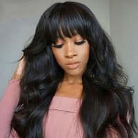Body Wave Human Hair Wig With Bangs Brazilian Wavy Wigs For Black Women Machine Made Remy Natural Color