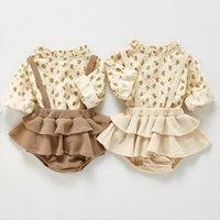 الربيع الأزهار طفلة ملابس مجموعات الوليد طويلة الأكمام البلوزات بذلة وزرة ملابس الأزياء