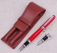 DUKE D2 Kırmızı Orta Nib Dolma Kalem 1 Adet Kaligrafi Kaba Bent Nib Bir Deri Kalem Kutusu Çanta Değiştirilebilir Yazma Seti