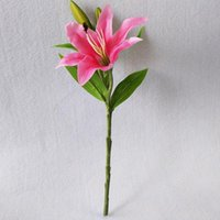 Decorative Flowers & Wreaths 5P White Pink Real Touch Artificial Lily Flower DIY Bridal Wedding Bouquet Party Decoration Home