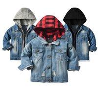 Jackets 2021 Children Spring Autumn Outerwear Boys Girls Ripped Holes Denim Hoodie Kids Sports Clothes 7M-10T
