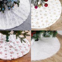 Christmas Decorations White Tree Skirt Plush Faux Fur Xmas Carpet Merry Ornament Year Navidad Home Decor