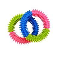 ملون الكلب لعب الحيوانات الأليفة تجارة المنتجات المقاومة لدغة النقش spinose ring tpr المطاط لعب للكلاب الإمدادات 432 v2