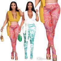 Mujeres leggings pantalones de verano diseñador de verano lado laday casual multicolor delgado sexy malla medias elásticas patrón de pantalón imprimido pantalones de cintura alta con calcetines