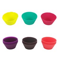 2021 Round shape Silicone Muffin Cupcake Mould Case Bakeware Maker Mold Tray Baking Cup Liner Molds