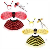 4pcs 세트 아이 요정 여성 스커트 의상 무당 벌레 꿀벌 반짝이 귀여운 날개 줄무늬 층 투투 스커트 지팡이 머리띠 할로윈 복장