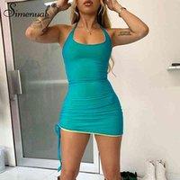 Simenual Bodycon Mesh Halterneck Mini Kleider für Frauen Backless Sexy Nachtclubwear Mode 2021 Tuch Heiß Party Kleid Skinny