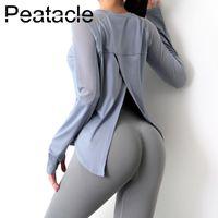 PEETALL Свободные спортивные блузка женская быстрая сухая футболка с длинным рукавом плюс размер йоги одежда фитнес тренировки верхние наряды