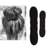 Multi size Sponge Black Styling Donut Bun Curler Maker Ring Magic Foam Twist Tool Hair Clip 17.5cm and 22.5cm