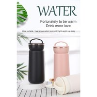 Water Bottles Q1JB 380ml Vacuum Insulated Bottle With Handle Reusable Stainless Steel Flask Wide Mouth Leak Proof Travel Mug Coffee