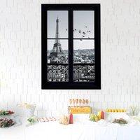 ملصقات الحائط الشارات 3d نافذة إيفل برج باريس مدينة للإزالة الفن ديكور أطفال غرفة الطفل جدارية