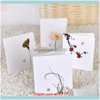 Greeting Event Festive Party Supplies Home & Gardengreeting Cards 8Pcs Pack Chinoiserie Bamboo Kids Birthday Cute Happy Metallic Plum Orchid