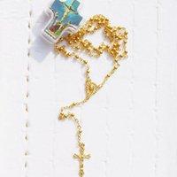 Colares de pingente embalados em Cruz Caixa 4mm Rosário dourado Colar Crucifix Católica Moda Religiosa Jóias