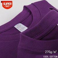 270g heavyweight Heibo Lin purple deep pure cotton color round neck short-sleeved t-shirt for men and women grape body #sx1J