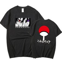 T-shirt dessin animé homme manches courtes street naruto lettre périphérique imprimer décontracté noir